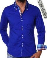 Carisma langarm Hemd H-110 royal blau