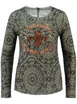 Key Largo Damen T-Shirt Pullover Rundhals langarm longsleeve Oberteil ILLUSION WLS00250 round grün khaki