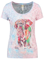 Key Largo Damen T-Shirt PROUD round rundhals kurzarm Elefant WT00176 rosa-light blue