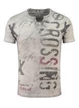 Key Largo Herren T-Shirt rundhals Vintage HIGHWAY kurzarm MT00286 silver grau