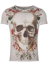 Key Largo Herren T-Shirt rundhals Vintage BRIGHT SMILE round kurzarm MT00192 grau silver