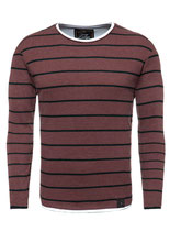 Key Largo Herren Pullover ORLANDO double-layer langarm rundhals MSW00084 rot red-bordeaux