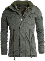 Young & Rich Jacke  Parka Trenchcoat Kurz-mantel JK-413 khaki grün