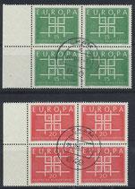 BRD 406-407 gestempelt Viererblöcke mit Bogenrand links