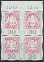 BRD 601 postfrisch Viererblock mit Bogenrand oben