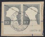 BRD 165 gestempelt waagrechtes Paar mit Bogenrand unten auf Briefstück