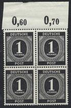 911 postfrisch Viererblock mit Bogenrand oben (RWZ) (ABGA)