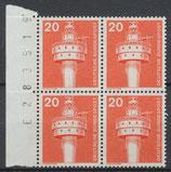 BERL 496 postfrisch Viererblock mit Bogenzählnummer
