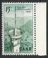 SAAR 369 postfrisch mit Bogenrand rechts