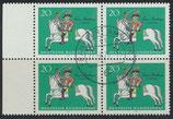 BRD 623 gestempelt Viererblock mit Bogenrand links