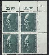 BRD 876 postfrisch Vierblock mit Eckrand rechts oben
