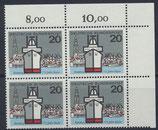 BRD 417 postfrisch Viererblock mit Eckrand rechts oben