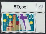 BRD 1467 postfrisch mit Eckrand rechts oben