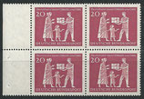 BRD 390 postfrisch Viererblock mit Bogenrand links