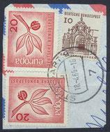 BRD 484 (2x) + 454 gestempelt auf Briefstück