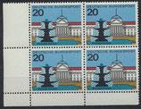 BRD 420 postfrisch Viererblock mit Eckrand links unten