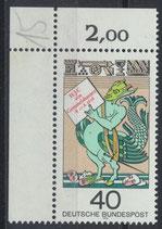BRD 902 postfrisch mit Eckrand links oben