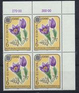 AT 1848 postfrisch Viererblock mit Eckrand rechts oben
