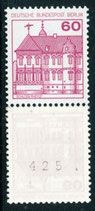 611  A R postfrisch, 3er Streifen mit rückseitger Nummer -425- (BERL)