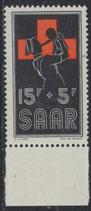 SAAR 360 postfrisch mit Bogenrand unten
