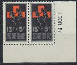 SAAR 360 postfrisch waagrechtes Paar mit Eckrand rechts unten