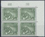 SAAR 436 postfrisch Viererblock mit Eckrand rechts oben