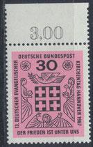 BRD 536 postfrisch mit Bogenrand oben