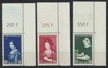 SAAR 376-378 postfrisch mit Eckrand rechts oben