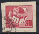DDR 250 gestempelt auf Briefstück