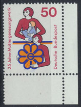 BRD 831 postfrisch mit Eckrand rechts unten