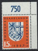 SAAR 379 postfrisch mit Eckrand rechts oben