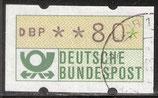 80 (Pf) Automatenmarke 1 gestempelt (BRD-ATM)