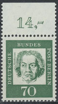 210 postfrisch Bogenrand oben (RWZ 14,00) (BERL)