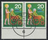 BRD 631 gestempelt waagrechtes Paar mit Bogenrand unten