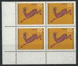 BRD 511 postfrisch Viererblock mit Eckrand links unten