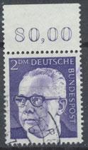 645 gestempelt mit Bogenrand oben (RWZ 80,00)  (BRD)