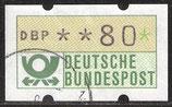80 (Pf) ATM 1 gestempelt mit Zählnummer (BRD-ATM)