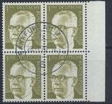 BRD 644 gestempelt Viererblock mit Bogenrand rechts