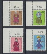 BRD 571-574 postfrisch mit Eckrand links oben