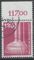BRD 1135 gestempelt mit Bogenrand oben (RWZ 117,00)