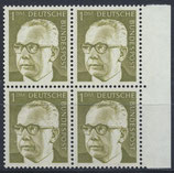BRD 644 postfrisch Viererblock mit Bogenrand  rechts