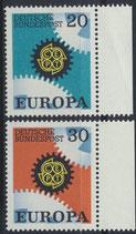 BRD 533-534 postfrisch mit Bogenrand rechts