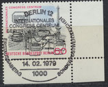 BERL 591 gestempelt mit Sonderstempel und Eckrand rechts unten