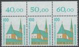 BRD 1406 postfrisch Dreiersteifen Bogenrand oben