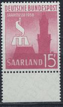 SAAR 435 postfrisch mit Bogenrand unten
