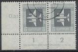 DDR 609 philat. Stempel waagrechtes Paar mit Eckrand links unten