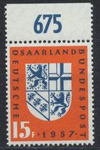 SAAR 379 postfrisch mit Bogenrand oben