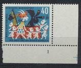 BRD 411 postfrisch Eckrand rechts unten mit Formnummer 1