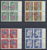 BRD 392-395 gestempelt Viererblöcke mit Bogenrand rechts