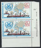DDR 2405 postfrisch senkrechtes Paar mit Eckrand rechts unten